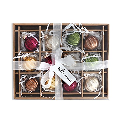Santa Glass Ball Ornament - Antiqued Rustic Rounds 2 Inch Boxed Set of 12 Glass Christmas Ball Ornaments
