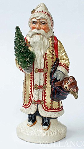 Vaillancourt Chalkware Santa - Vaillancourt European Father Christmas With Teddy Bear