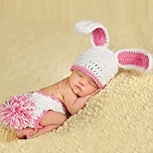 Easter Newborn Baby Photography Prop, Staron Rabbit Baby Girls Photo Prop Hats Outfits Crochet Knit Bunny Photo Prop Costume (Red❤️)