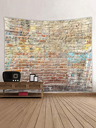 DEQI Colored Brick Wall Tapestry Stone Tapestry Wall Hanging Tapestry Polyester Print for Livingroom Bedroom Home Dorm Decor W90 x L71 ()