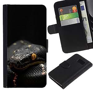 Samsung Galaxy S6 / SM-G920 , la tarjeta de Crédito Slots PU Funda de cuero Monedero caso cubierta de piel ( Snake Venom Black Mamba Tropical)