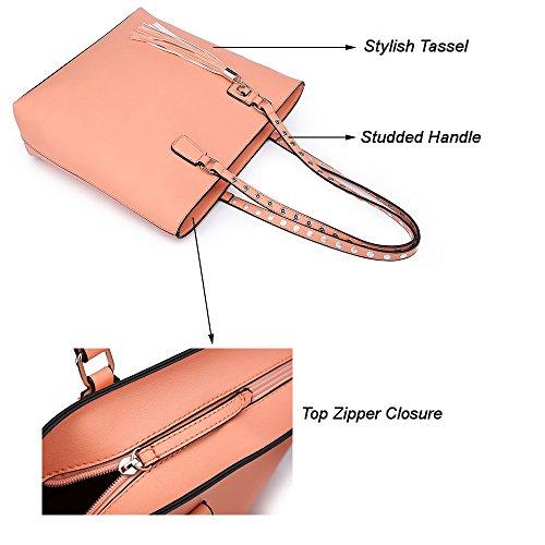 Celio Fedi Shoulder Purse,Hobo Bag Set Tote Handbag for Women Large Chic Classic Elegant Medium Size with Wallets Tassels (Medium, Pink) by Celio Fedi (Image #4)