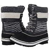 GLOBALWIN Women's Grey Zebra Stripe Winter Snow Boots 8M US
