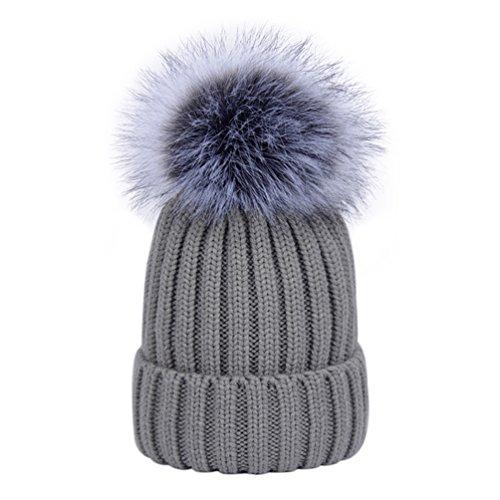 Womens Rib Beanie Winter Knitted Hats With Detachable Faux Fur Pom Pom Grey