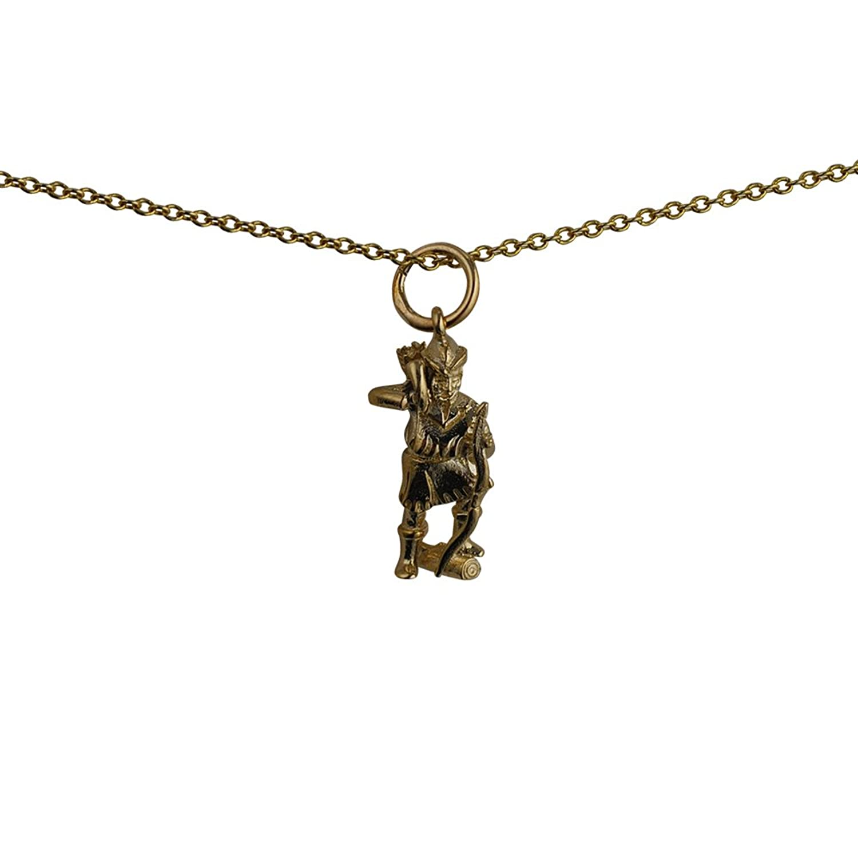 Oro amarillo 375/1000–17x 9mm Robin Hood colgante con cadena Cable