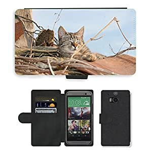 Super Stella Cell Phone Card Slot PU Leather Wallet Case // M00107780 Cat Roof Shingle // HTC One M8