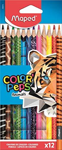 Lápis de Cor Color Peps Animals, Maped, Multicor, Pacote de 12