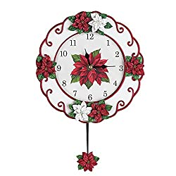 Collections Etc Poinsettia Christmas Pendulum Clock Decoration