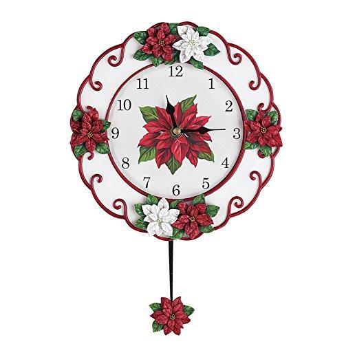 - Collections Etc Poinsettia Christmas Pendulum Clock Decoration