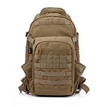 YAKEDA Tactical camping travel Daypack Military Backpack Hiking Trekking Bag-A88034 (mud color)