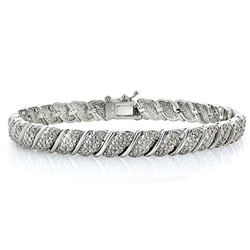 Silver Gold Plated Brass 1ct TDW Diamond Fancy Design Tennis Bracelet by Jawa Fashion
