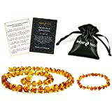 Baltic Amber Teething Necklace + Bracelet for Babies (Unisex) - Anti Flammatory, Drooling & Teething Pain Reduce Properties - Certificated Natural Baltic Amber with The Highest Quality. (Cognac)