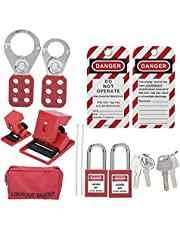 Lockout Tagout Kit, Hasps Safety Padlocks Circuit Breaker Locking Plug Lockout, Red Toolbox kit for Lock Out Tag Out Stations