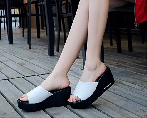 De white Verano Zapatos Altos Moda Desgaste Mujer Tacones Grueso Zapatillas de De Verano Arrastre Pendiente del Talón Fondo GTVERNH Zapatos Mujer Verano Arrastre OXZxYqwIB