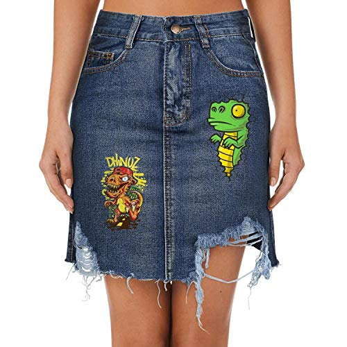 Tyler Liu Dinosaur T-rex Come to City Womens Casual Denim Jeans Short Skirt