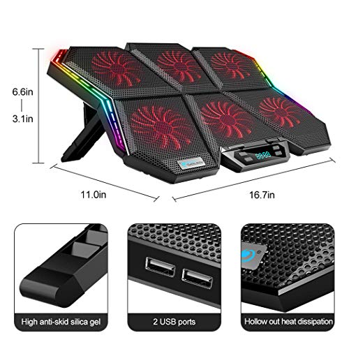 RGB Gaming Notebook Cooling Pad, Laptop Cooler Pad with 6 Quiet Colorful LED Fans & Touch Control, 7 Heights Adjustment, Dual USB Powered Gaming Laptop Cooling Stand (Multicolored)