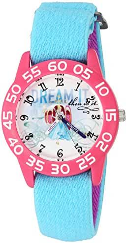 Disney Girl's 'Cinderella' Quartz Plastic and Nylon Automatic Watch, Color:Blue (Model: W002941)