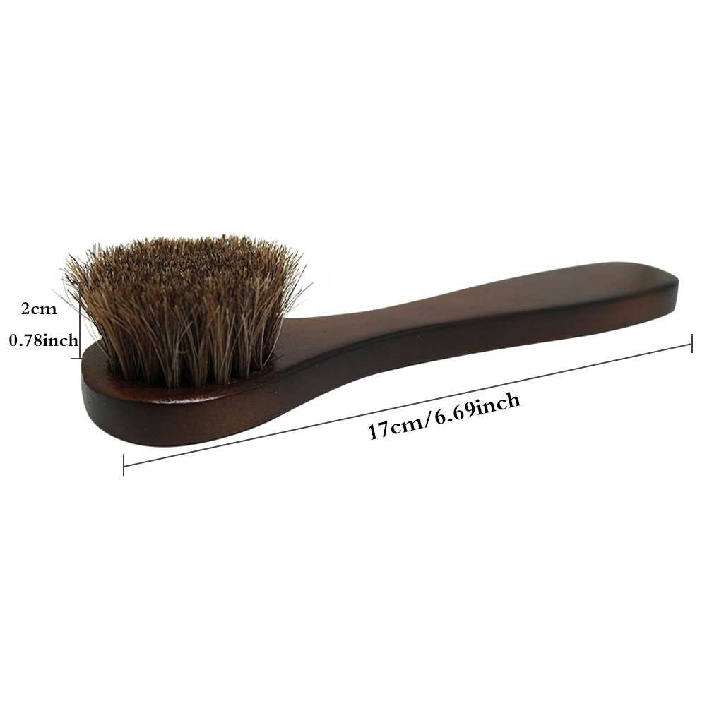 2PCS Polish Shoe Brush  ,  6.7'' Horse Shine Horsehair Brushes With Leather Dauber , Waterproofing Brown Cleaning Applicator Conditioner For Coats , Handbags ,  Purses ,  Briefcases ,  Saddles ,  Boot by ieasycan (Image #8)