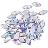 500Pcs in Bulk 7X15mm Crystal AB Acrylic Flatback Rhinestones Eye Shaped Diamond Beads for DIY Crafts Handicrafts Clothes Bag Shoes Wholesale, White AB