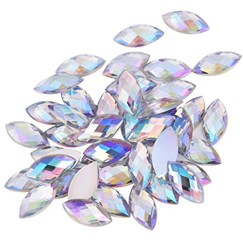 (500PCS Crystal Rhinestones Gems AB Acrylic Flat Back Horse Eye Shaped Diamond Beads for Decor DIY Crafts Handicrafts Clothes Bag Shoes Wholesale, White 7X15mm)
