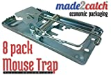 made2catch Classic Metal Mouse Trap Fully Galvanized (8 traps) - Snap Trap for Mice - Mouse and Small Rodent Control - Humane Mouse Traps that Work - ECONOMIC PACKAGING