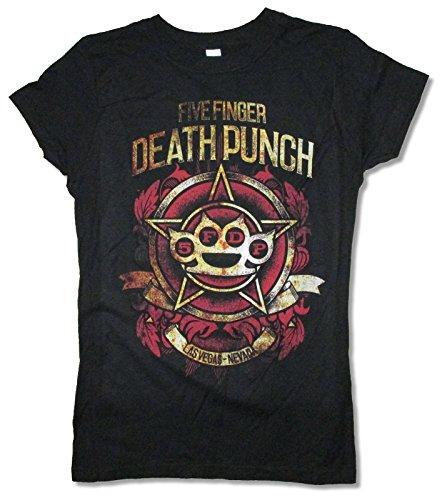 Five Finger Death Punch Stars Girls Juniors Black T Shirt 5FDP (XL)