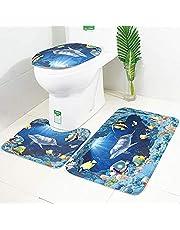 LAOSHIZI Mata łazienkowa miękki antypoślizgowy dywanik łazienkowy nadruk ze zwierzętami morskimi 3-częściowy zestaw w tym mata do kąpieli mata pod podstawę i pokrowiec na sedes delfin