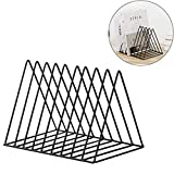 Hmane Vintage Triangle Desktop Organizer Iron Art Desktop Storage Rack Bookshelf Magazine Holder for Office - (Black)