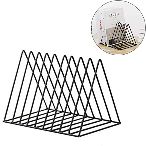 Hmane Vintage Triangle Desktop Organizer Iron Art Desktop Storage Rack Bookshelf Magazine Holder for Office - (Black) by HMANE
