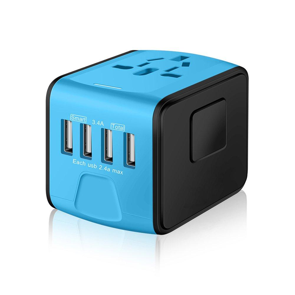 SAUNORCH Universal International Travel Power Adapter W/Smart High Speed 2.4A 4xUSB Wall Charger, European Adapter, Worldwide AC Outlet Plugs Adapters Europe, UK, US, AU, Asia-Blue