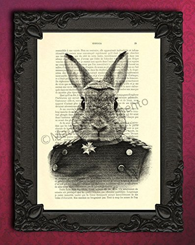 (Bunny portrait artwork, victorian rabbit head art print, woodland animal in clothes poster )