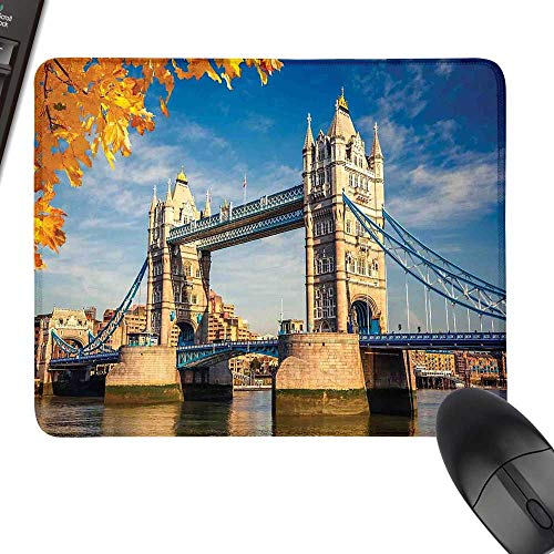 London Desk Pad, Office Desk Mat Historical Construction Tower Bridge with Mossy Abutments Autumnal Leaves Laptop Desk Mat, Waterproof Desk Writing Pad 23.6