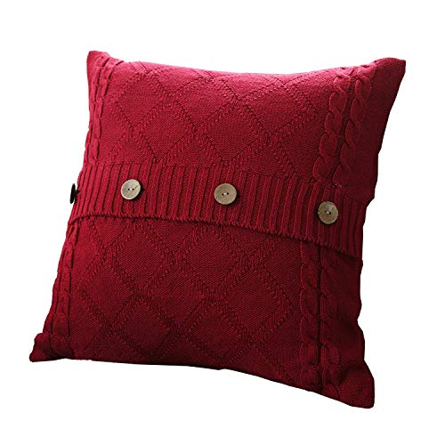 itted Decorative Pillow Case Cushion Cover Cable Knitting Patterns Square Warm Throw Pillow Cover (Wine red, 18x18) ()