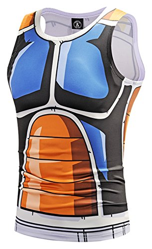 Pizoff Mens Sleeveless Quickly Dry 3D Cartoon Print Work Out Compression Tank Tops Y1783-33-M