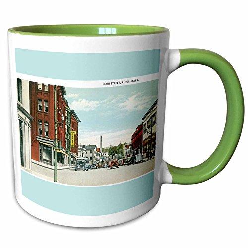 3dRose BLN Vintage US Cities and States Postcard Designs - Main Street, Athol, Massachusetts, City Street with Antique Cars - 11oz Two-Tone Green Mug (mug_170083_7) (Massachusetts Christmas Lights)