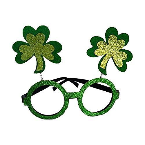 Qable Powerz ST Patrick's Day Irish Clover Novelty Glasses, ST Patrick's Day Shamrock Glasses
