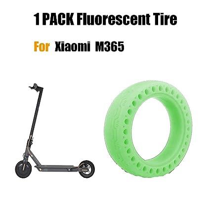 FreeLeben Neumático Fluorescente Scooter Eléctrico, 1 PC Caucho Resistente al Desgaste Antideslizante Llanta de Repuesto de Nido de Abeja Sólido para ...