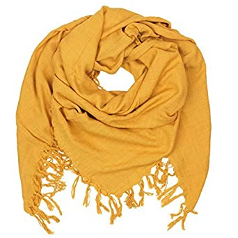 1dd869876 Becksöndergaard Ladies Scarf Masozi Neckcloth Triangle yellow golden yellow  square soft Cotton Fringes 603001-472: Amazon.co.uk: Clothing