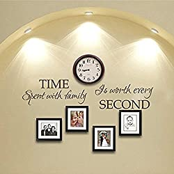 Time Spent With Family Is Worth Every Second Vinyl Family Wall Decal Time Wall Quote Family Love Wall Saying Letters -WITHOUT Clock and Picture frames-