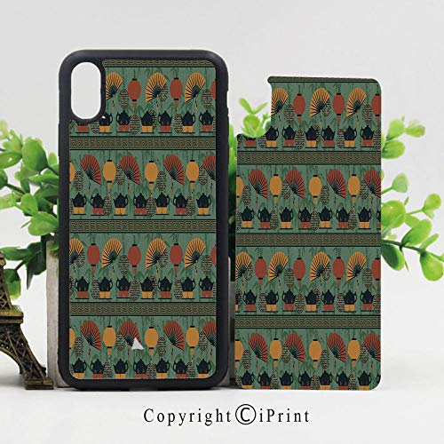(Phone Case Protective Design Asian Ethnicity Theme Grunge Bamboo Branches Chinese Lanterns Durable Hard PC Back Phone Cover Compatible for iPhone X,Reseda Green Orange)