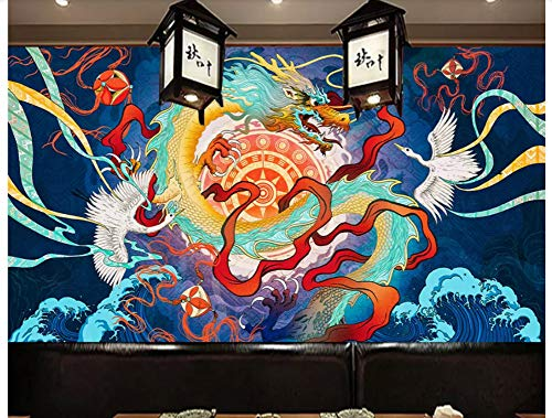 3D Custom Large Mural Japanese Style Wallpaper Sushi Restaurant Background Wall-Vintage Japanese Ukiyoe Dragon and Phoenix Restaurant Restaurant Tooling Background Wall Painting , 300Cmx210Cm
