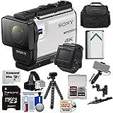 Sony Action Cam FDR-X3000R Wi-Fi GPS 4K HD Video Camera Camcorder & Remote + Helmet Mounts + 64GB Card + Battery + Case + Selfie Stick + Tripod Kit