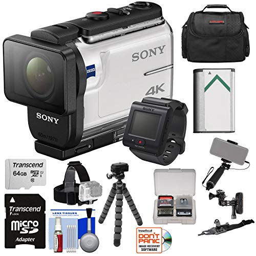Sony Action Cam FDR-X3000R Wi-Fi GPS 4K HD Video Camera Camcorder & Remote + Helmet Mounts + 64GB Card + Battery + Case + Selfie Stick + Tripod Kit
