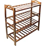 #6: HQdeal Bamboo Shoe Rack 4 Tiers Free Standing Shoe Tower Storage Organizer Shelf Boot Stand for Entry Closet Adjustable Eco-Friendly