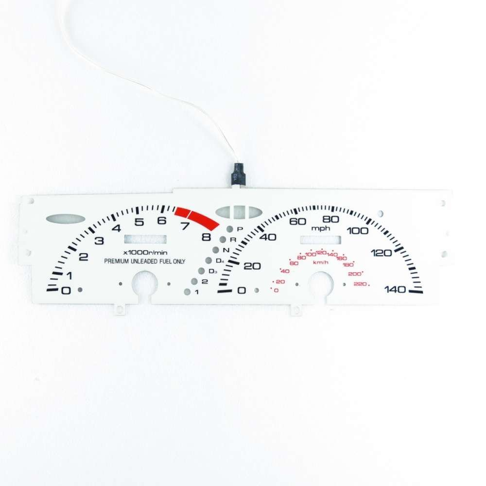 BAR Autotech  EL GLOW GAUGE DASH WHITE FACE EL CLUSTER FOR HONDA Prelude SI AT 92-96 by BAR
