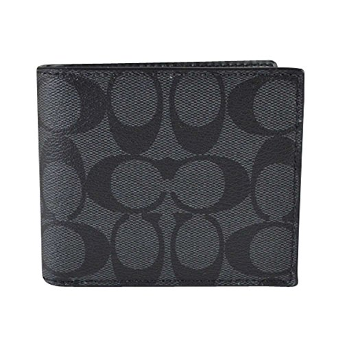 Coach Compact ID Signature PVC Wallet Charcoal/Black (Men Wallets For Compact)