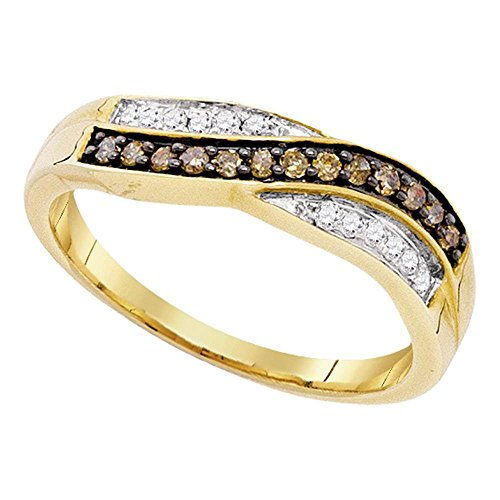 GemApex Brown Diamond Fashion Band Solid 10k Yellow Gold Curve Ring Chocolate Round Crossover Style Fancy 1/4 ctw