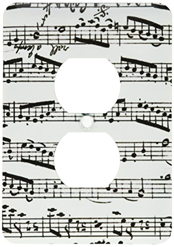 3dRose lsp_179702_6 Music Notes Pattern Black and White Piano Sheet Musical Notation Light Switch Cover ()