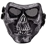 Fansport Halloween Costume Skull Skeleton Mask Full Length Hooded Cloak Adult Cape with Scary Halloween Mask
