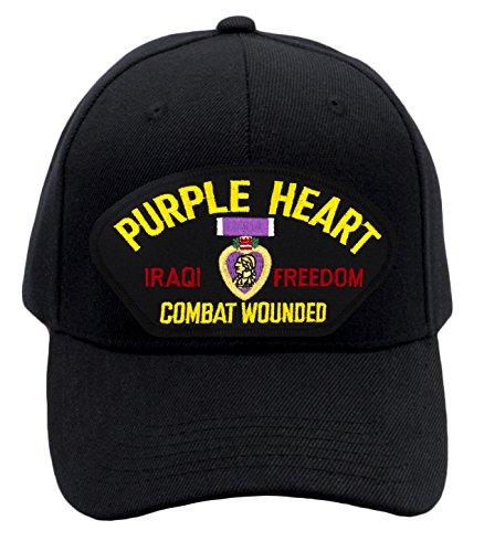 Patchtown Purple Heart - Iraqi Freedom Veteran Hat/Ballcap (Black) Adjustable One Size Fits ()